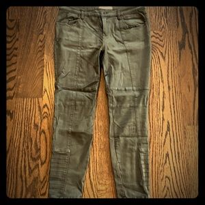 Free People Olive Green Moto Skinny Jeans